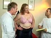 A chubby MILF double penetrated by two young doctors