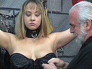 Bound BDSM whore gets nipples pinched and ass examined by old man