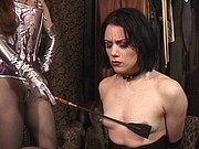 Beautiful young perky tit brunette is restrained and abused by redhead mistress