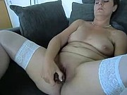 mature playing with big dildo