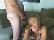 Older mature couple play on cam lingerie granny sucks