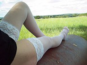 white stockings outside