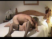 Mature in stockings sucks cock and then screwed